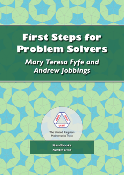 Cover of First Steps for Problem Solvers